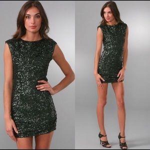 Alice + Olivia emerald green sequined mini dress